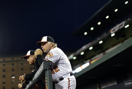 Baltimore Orioles manager Buck Showalter watches from the dugout in the third inning of a baseball game against the Tampa Bay Rays on Tuesday, April 16, 2013, in Baltimore. (AP Photo/Patrick Semansky)