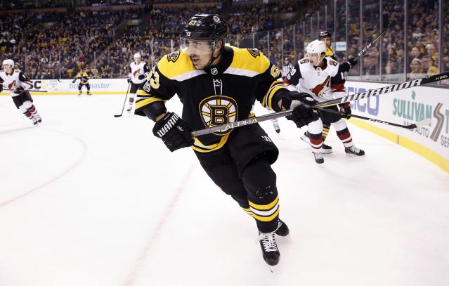 """<a class=""""link rapid-noclick-resp"""" href=""""/nhl/teams/bos/"""" data-ylk=""""slk:Boston Bruins"""">Boston Bruins</a> winger <a class=""""link rapid-noclick-resp"""" href=""""/nhl/players/4351/"""" data-ylk=""""slk:Brad Marchand"""">Brad Marchand</a> is hot after returning from injury. (AP Photo/Michael Dwyer)"""