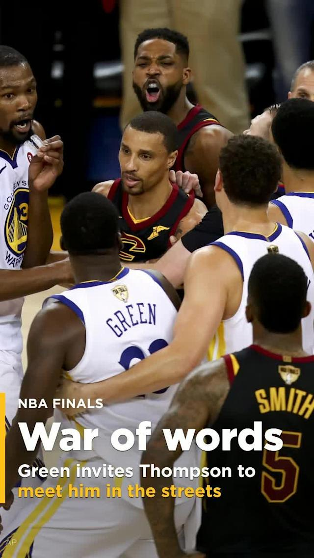 Officials threw Tristan Thompson out of the game for a flagrant foul on Shaun Livingston, and Thompson pushed Draymond Green when Green got in his face to applaud the ejection. After the two were separated, Thompson invited Green to meet him outside as he walked toward the tunnel.