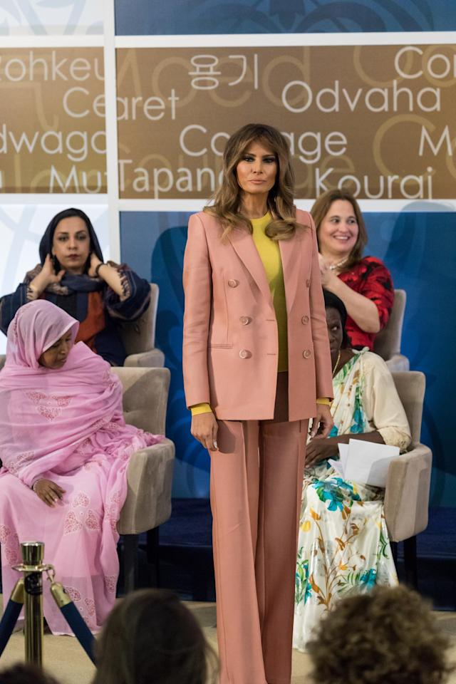 <p>For the annual International Women of Courage Awards, Melania Trump donned a co-ordinating suit by Emilio Pucci. <em>[Photo: Getty]</em> </p>
