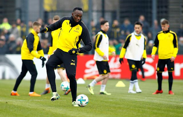 FILE PHOTO: Soccer Football - Usain Bolt participates in a training session with Borussia Dortmund - Strobelallee Training Centre, Dortmund, Germany - March 23, 2018 Usain Bolt during Borussia Dortmund training REUTERS/Thilo Schmuelgen/File Photo