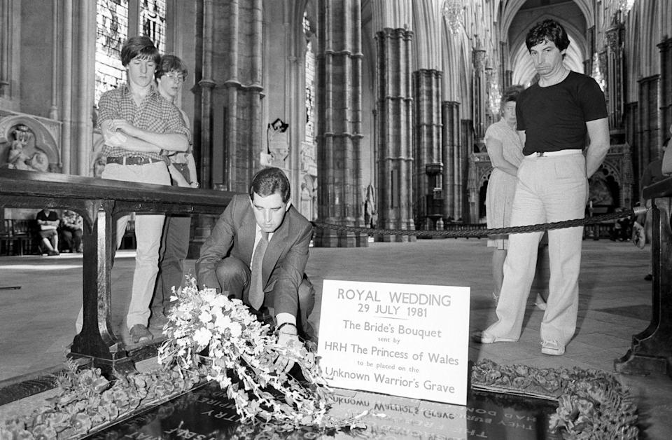 <p>Keeping up with tradition, Diana's bouquet was laid upon the tomb of the Unknown Warrior Grave in Westminster Abbey. The Princess' bouquet, made up of white orchids, freesias, gardenias, and lily of the valley flowers, weighed around 2 kilos (that's over 4 lbs!) and was nearly 42 inches long.</p>