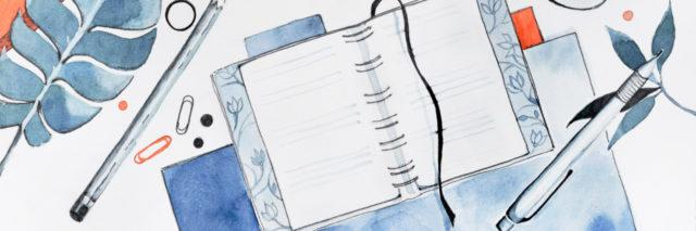 watercolor with blues of a desk with a notebook, pencil, books, cup of coffee, etc.