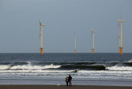 A couple walk their dog on Redcar beach past an offshore wind farm in Redcar