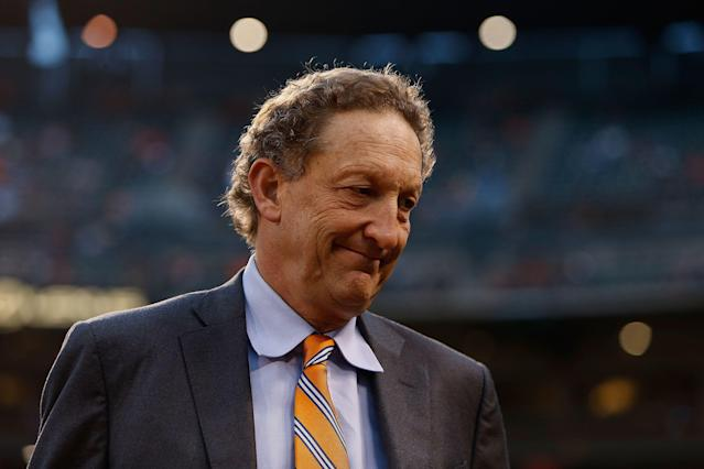 San Francisco Giants CEO Larry Baer will be suspended without pay until July 1, during which time he is prohibited from having any involvement with the organization. (Getty Images)