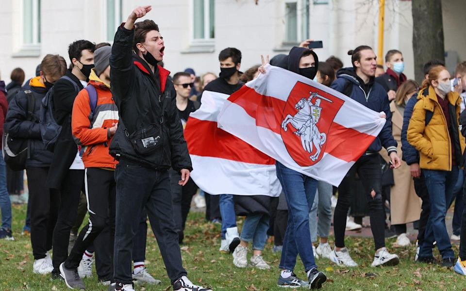 Students rallied in solidarity with Belarusian workers outside their campuses on Monday - Tass