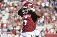 Arkansas running back Rakeem Boyd celebrates after scoring a touchdown against Portland State during the second half of an NCAA college football game, Saturday, Aug. 31, 2019 in Fayetteville, Ark. (AP Photo/Michael Woods)