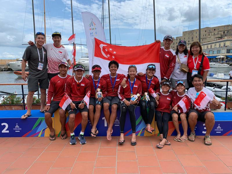 The bronze-winning Singapore sailing team with their fellow team-mates at the World University Games. (PHOTO: International University Sports Federation)