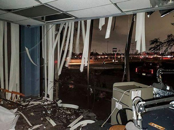 PHOTO: In this Oct. 20, 2019, photo offered by Lew Morris, damage to the Reckless Rock Radio station studio is seen after a tornado touched down in Dallas, Texas. (Lew Morris/AP)