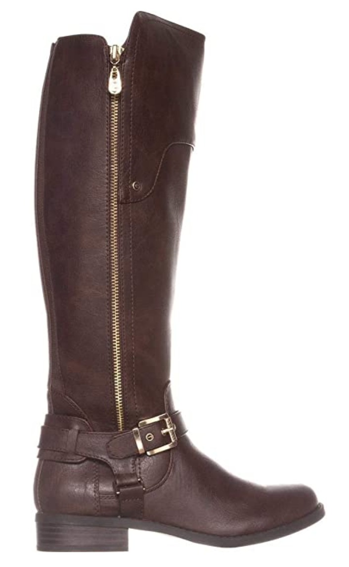 G By Guess Women's Harson Almond Toe Knee High Fashion Boots in Dark Brown