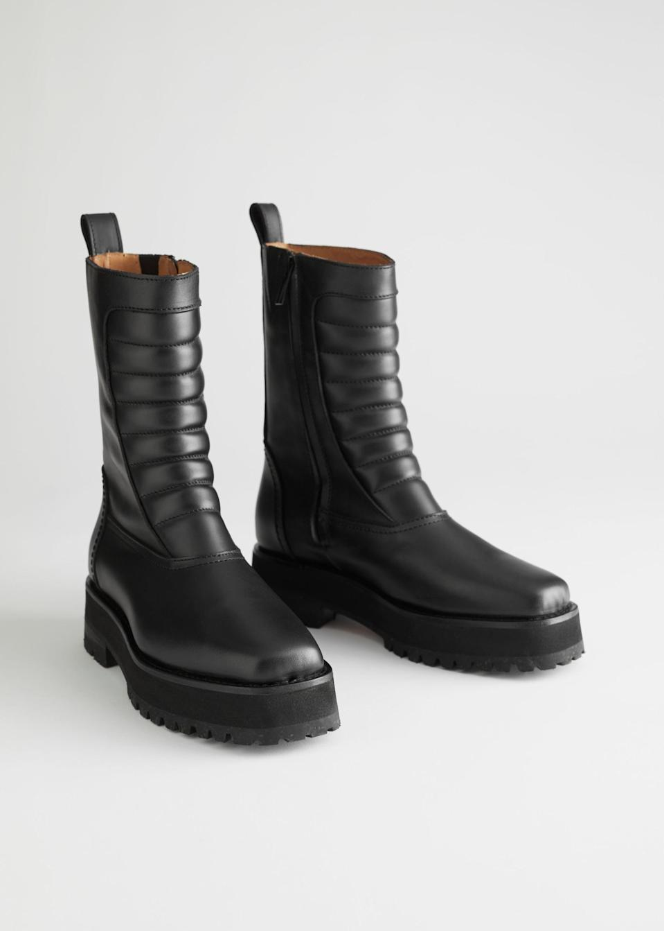<p>These <span>&amp; Other Stories Square Toe Leather Biker Boots</span> ($229) are so cool, you'll wear them all the time.</p>