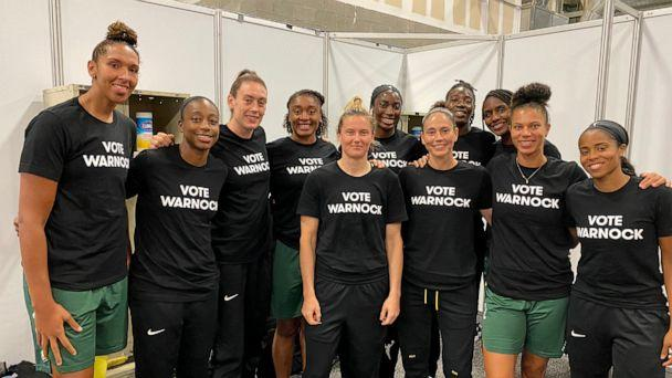 PHOTO: WNBA players wear a 'Vote Warnock' t-shirt in a photo Sue Bird posted to her Twitter account, Aug. 4, 2020. (Sue Bird via Twitter)