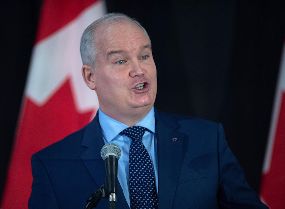 Erin O'Toole addresses the crowd at a federal Conservative leadership forum during the annual general meeting of the Nova Scotia Progressive Conservative party in Halifax on Feb. 8, 2020. (Photo: Andrew Vaughan/CP)