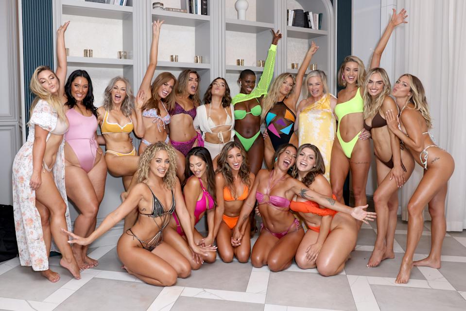 MIAMI, FLORIDA - JULY 10:(BR)  Chelsea Heath, Amanda Kay, Kathy Jacobs, Haley Kalil, Brooks Nader, Natalie Mariduena, Saje Nicole, Kristen Louelle, MJ Day, Allie Ayers, Taylor Sharpe, Summer Wilson, (FR) Jasmine Sanders, Christen Harper, Katie Austin, Alex Aust and Haley Kalil pose backstage for 2021 Sports Illustrated Swimsuit Runway Show during Paraiso Miami Beach at Mondrian South Beach on July 10, 2021 in Miami, Florida. (Photo by Alexander Tamargo/Getty Images for Sports Illustrated)