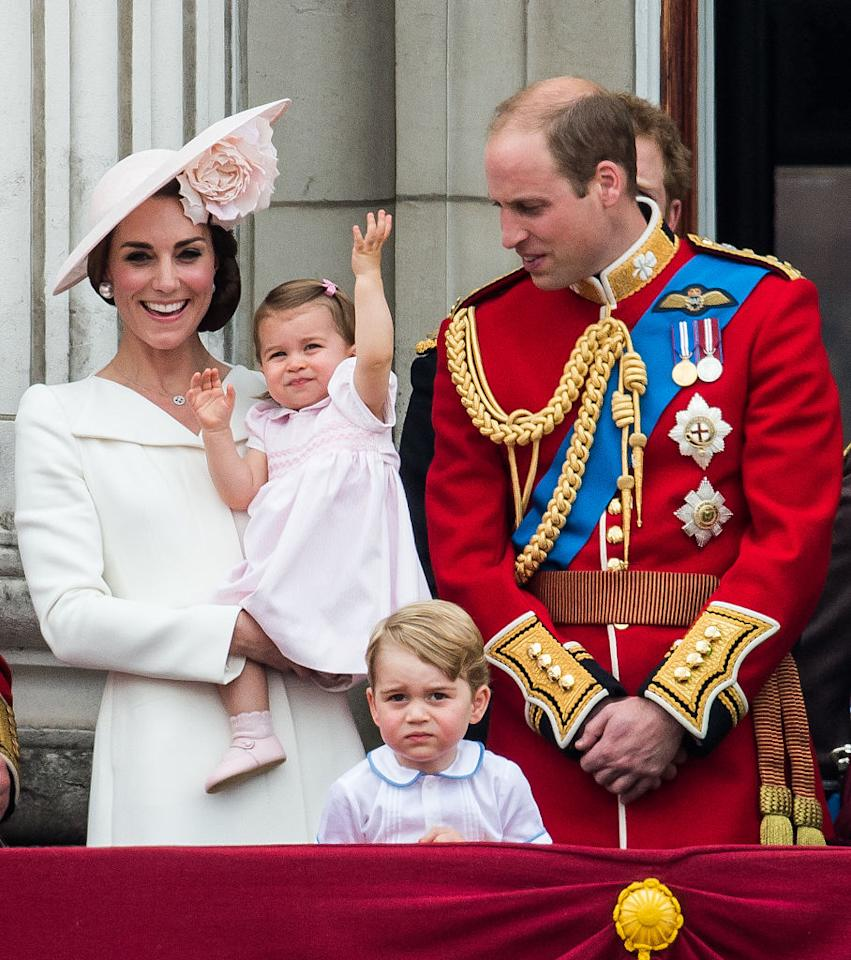 <p>To celebrate Trooping the Colour back in 2016, Princess Charlotte made her balcony debut memorable in a sweet baby pink dress and co-ordinating shoes. Unfortunately the smock number has since sold out but her adorable booties are still up for grabs. <em>[Photo: Getty]</em> </p>