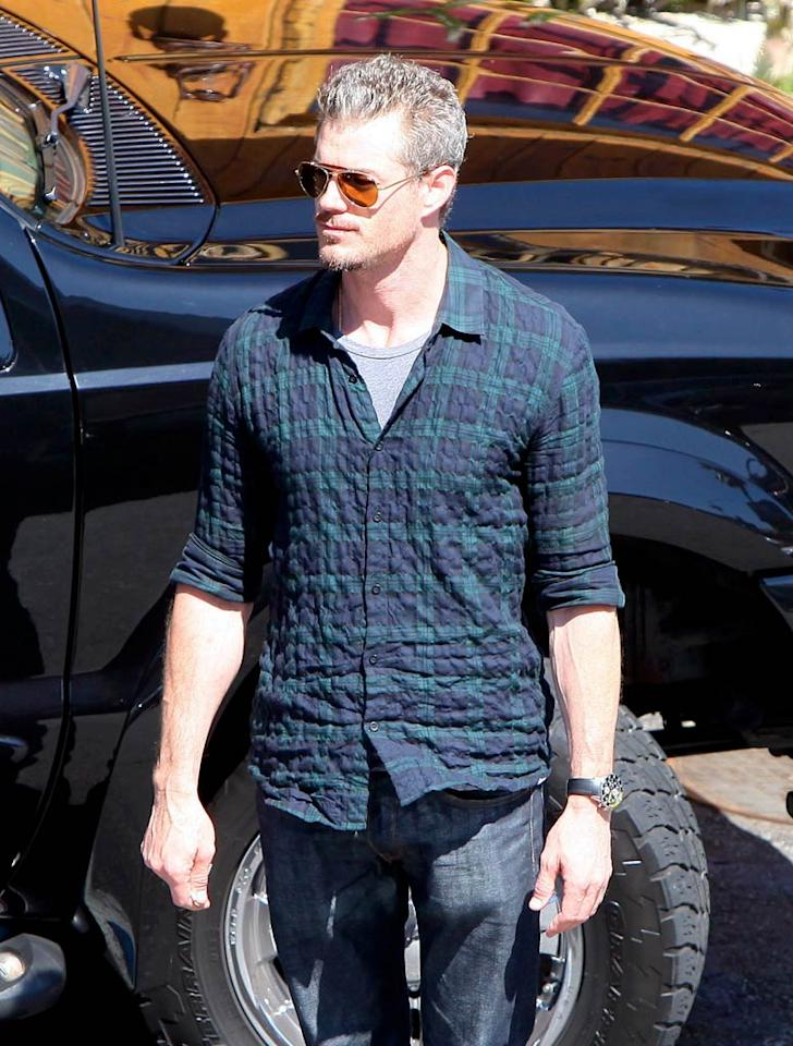 "Thanks to his wrinkled shirt ""Grey's Anatomy"" hunk Eric Dane looked like he'd just rolled out of bed. We're thinking his adorable 4-month-old daughter Billie might be keeping him up at night. Kmm/<a href=""http://www.x17online.com"" target=""new"">X17 Online</a> - July 12, 2010"