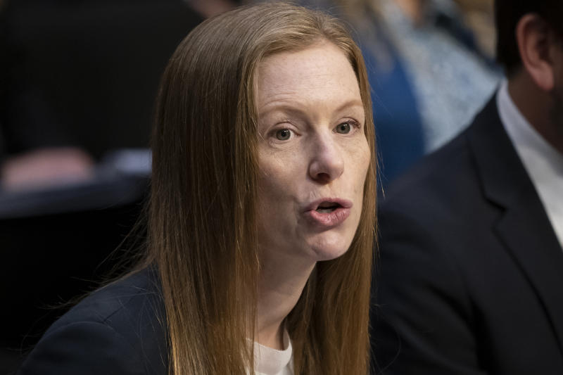 Monika Bickert, head of global policy management at Facebook, testifies before the Senate Commerce, Science and Transportation Committee during a hearing on how internet and social media companies are prepared to thwart terrorism and extremism, Wednesday, Sept. 18, 2019, on Capitol Hill in Washington. (AP Photo/J. Scott Applewhite)