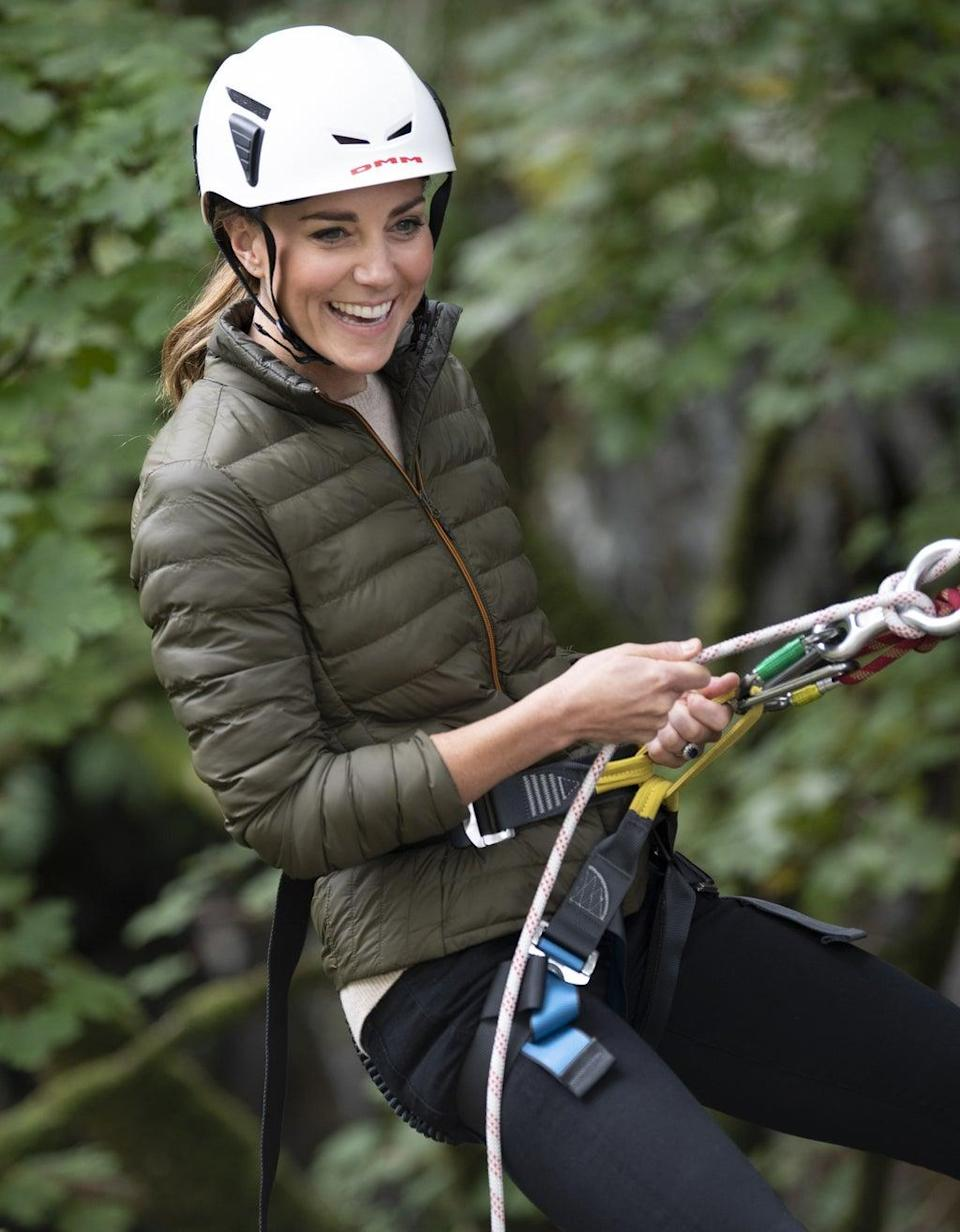 During her visit to Cumbria Kate tried abseiling (Andy Stenning/Daily Mirror/PA) (PA Wire)