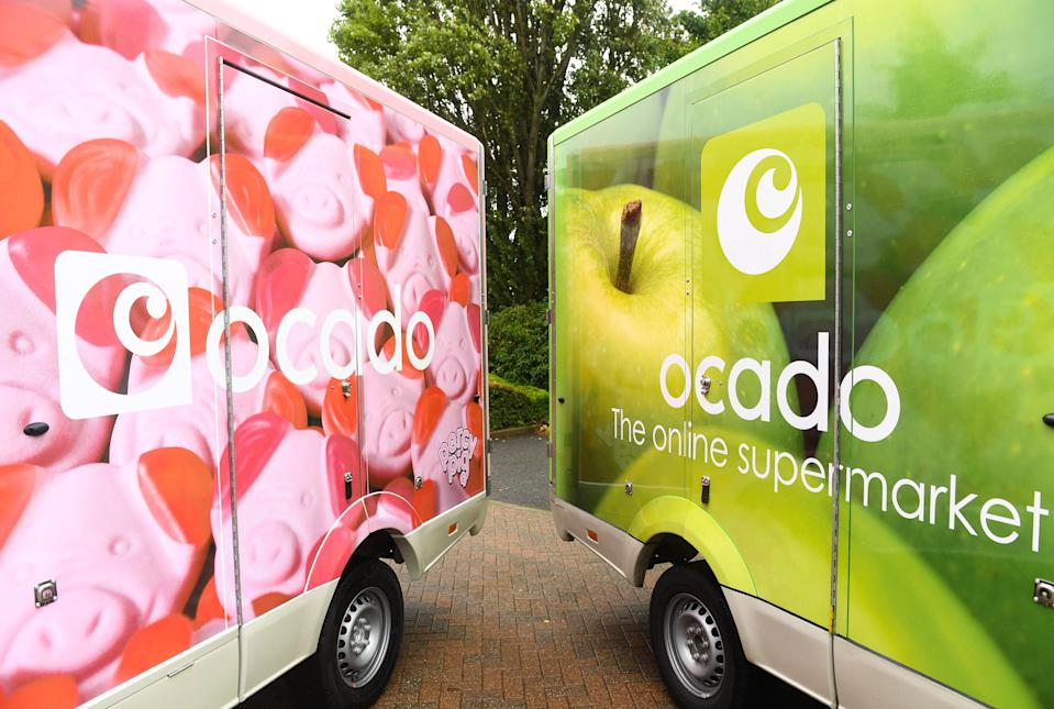 EMBARGOED TO 0001 TUESDAY SEPTEMBER 1 EDITORIAL USE ONLY A fleet of limited-edition Percy Pig delivery vans are unveiled as Ocado marks the arrival of the full M&S Food range to the online supermarket's website from today, September 1st.