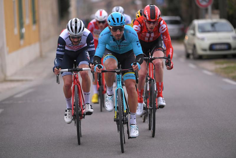 AIXENPROVENCE FRANCE FEBRUARY 16 Julien Bernard of France and Team Trek Segafredo Fabio Felline of Italy and Team Astana Pro Team Chad Haga of The United States and Team Sunweb during the 5th Tour de La Provence 2020 Stage 4 a 1705km stage from Avignon to AixEnProvence TDLP letourdelaprovence TDLP2020 on February 16 2020 in AixEnProvence France Photo by Luc ClaessenGetty Images