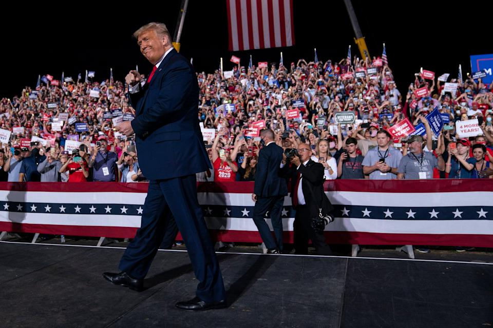 Donald Trump arrives for a campaign rally in Gastonia, NC, as he tries to secure the key swing state. (Copyright 2020 The Associated Press. All rights reserved)