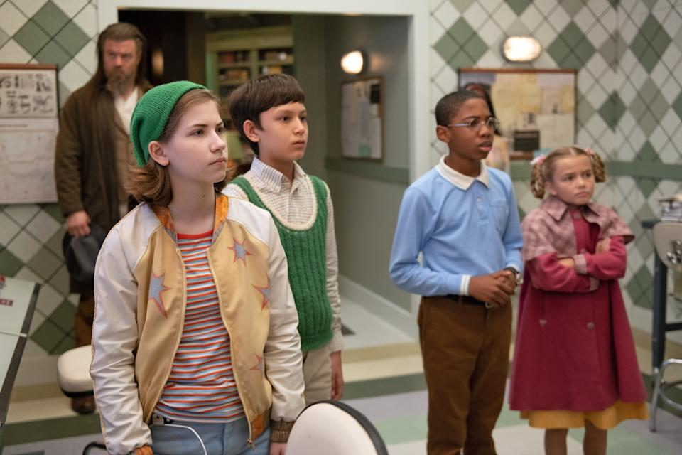 """Ryan Hurst as Milligan, Mystic Inscho as Reynie Muldoon, Seth B. Carr as George """"Sticky"""" Washington, Emmy DeOliveira as Kate Wetherall and Marta Kessler as Constance Contriare in"""