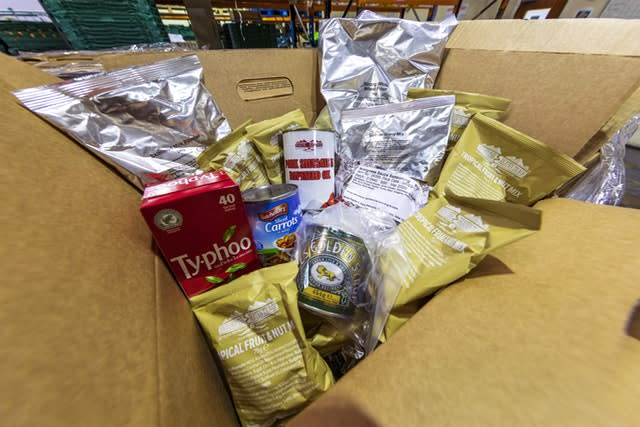 Rations given to homeless charities