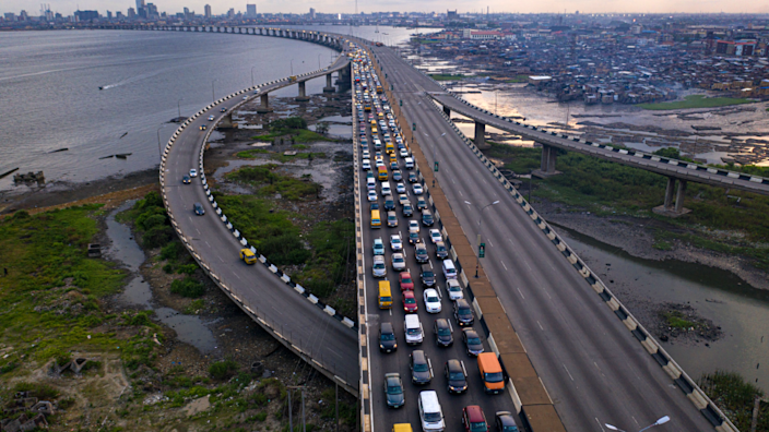 Traffic on the Third Mainland Bridge, Lagos, Nigeria