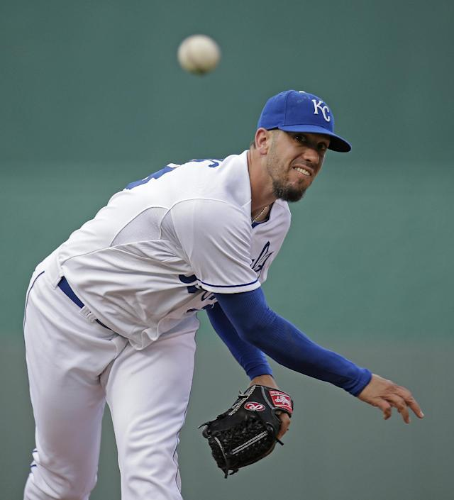 Kansas City Royals starting pitcher James Shields throws during the first inning of a baseball game against the Detroit Tigers Saturday, July 12, 2014, in Kansas City, Mo. (AP Photo/Charlie Riedel)