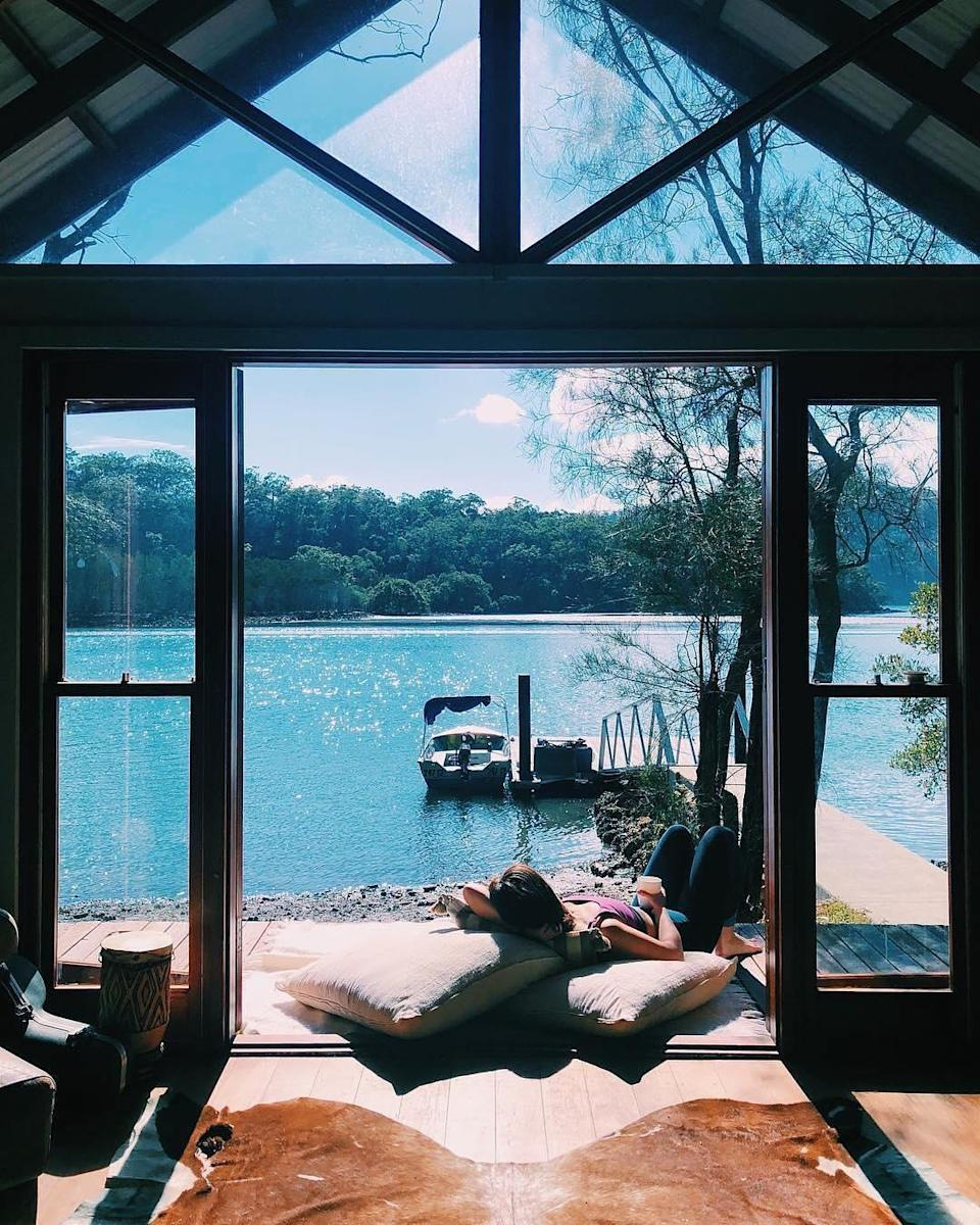 <p>The only way to reach this quiant spot on the Hawkesbury River is via boat. With over 55,000 likes, it seems we're not the only ones lusting over the idyllic scenery. <em>[Photo: Airbnb]</em> </p>