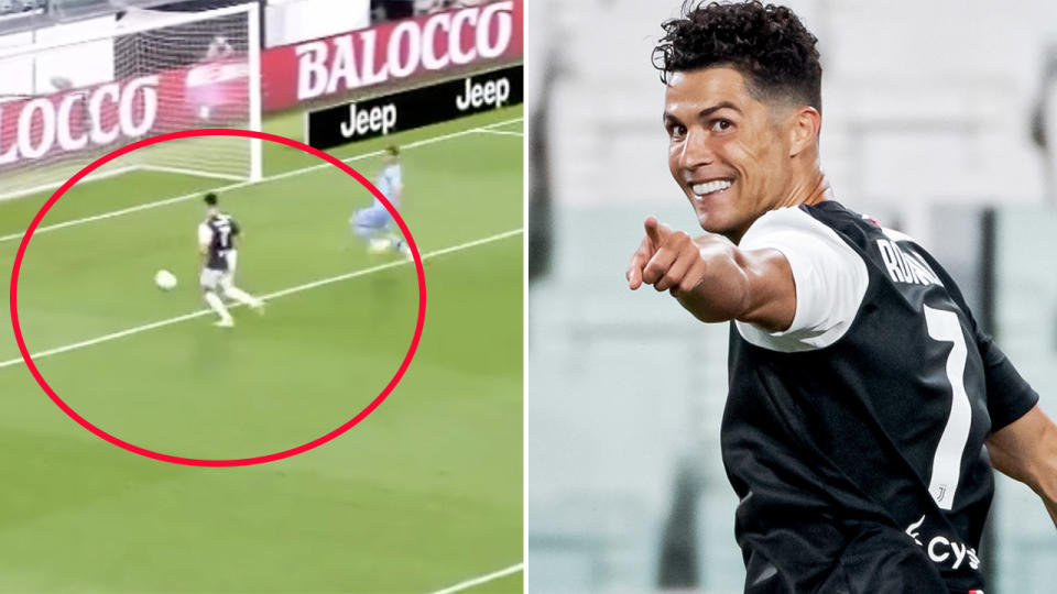 Cristiano Ronaldo, pictured here scoring for Juventus in Serie A.