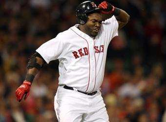 David Ortiz reacts to making an out on July 7, 2009 against Oakland. At the time he was hitting just .223 with nine home runs