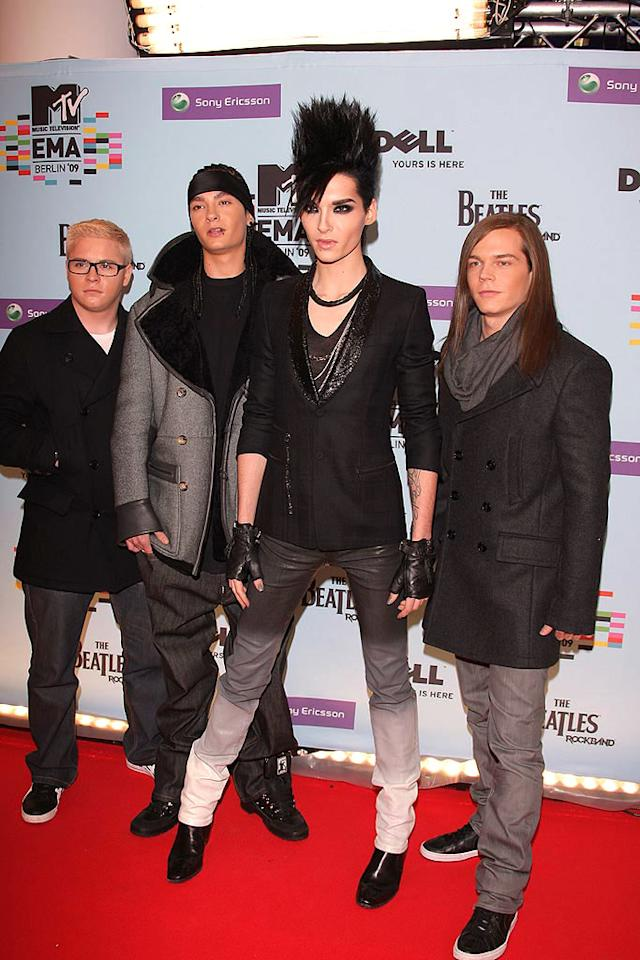 """Germany's own Tokio Hotel paid tribute to the fall of the Berlin Wall during their hometown performance of """"World Behind My Wall."""" The rock band also nabbed the award for Best Group. Venturelli/<a href=""""http://www.wireimage.com"""" target=""""new"""">WireImage.com</a> - November 5, 2009"""