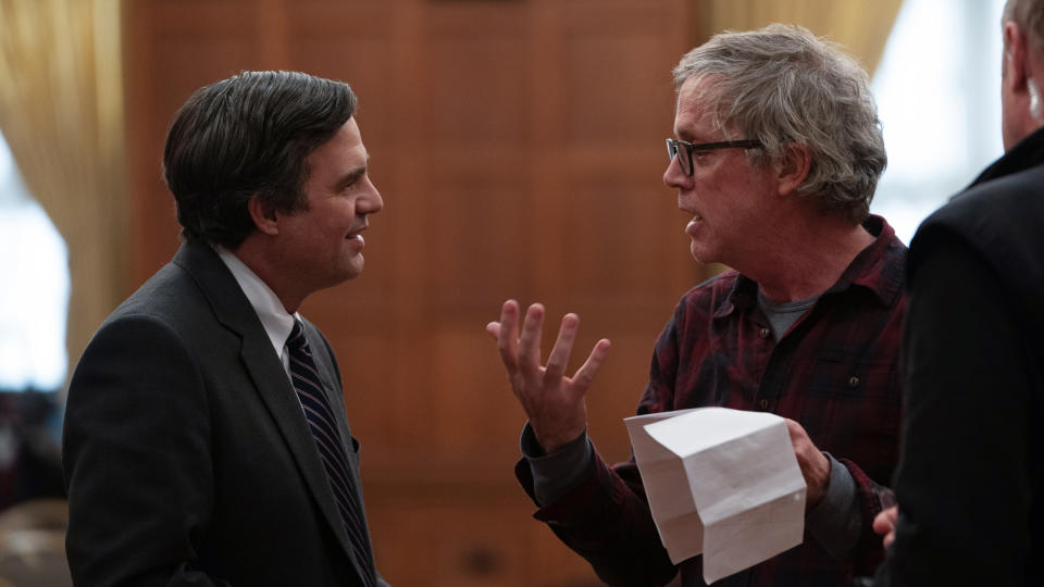 Mark Ruffalo and director Todd Haynes on the set of 'Dark Waters'. (Credit: Mary Cybulski/Focus Features/eOne)