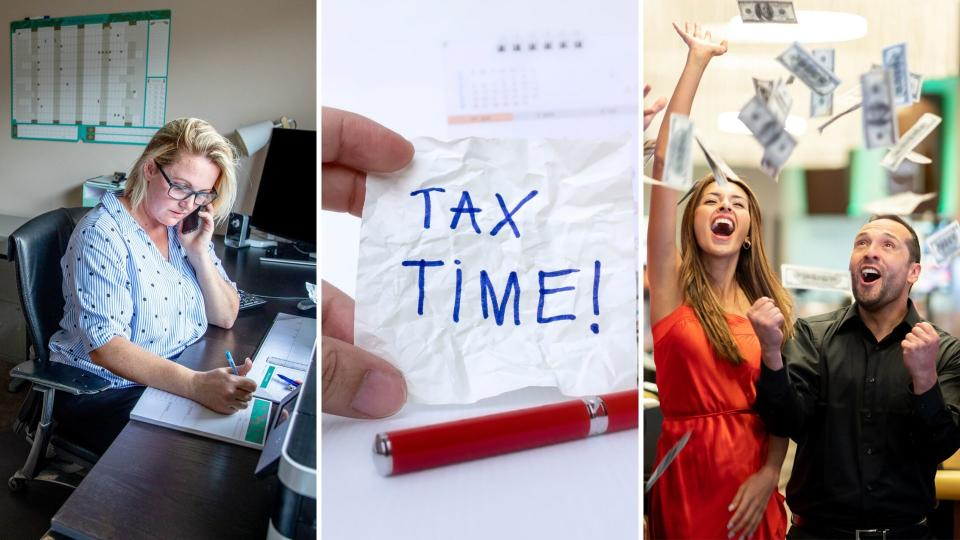 "A woman working from home on the left, a handwritten note that says ""tax time"" in the centre, and a woman and man celebrating with money flying in the air on the right."