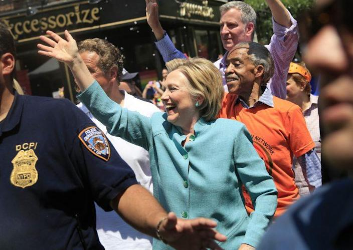 Hillary Clinton marches in the NYC Pride Parade on Sunday. (Seth Wenig/AP)