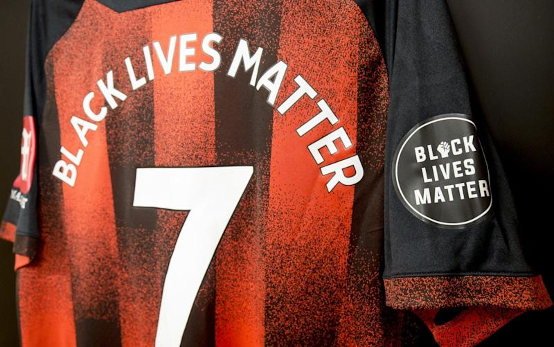 AFC Bournemouth home shirt bearing messages in support of the NHS and Black Lives Matter in home dressing room at Vitality Stadium on June 19, 2020 - Robin Jones - AFC Bournemouth via Getty Images