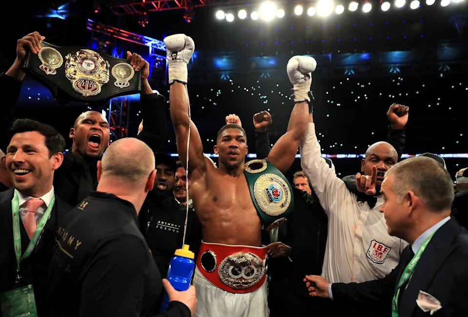 Anthony Joshua wins the heavyweight title in 2017Getty Images