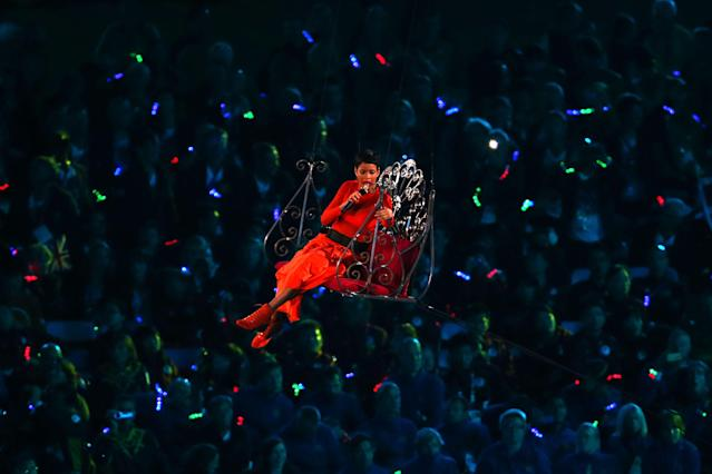 LONDON, ENGLAND - SEPTEMBER 09: Singer Rihanna performs during the closing ceremony on day 11 of the London 2012 Paralympic Games at Olympic Stadium on September 9, 2012 in London, England. (Photo by Dean Mouhtaropoulos/Getty Images)