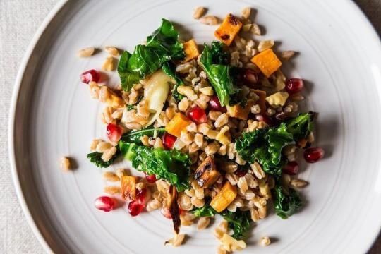 Dinner tonight farro with roasted sweet potato kale and the prettiest salad weve ever laid eyes on photo james ransomfood52 forumfinder Images