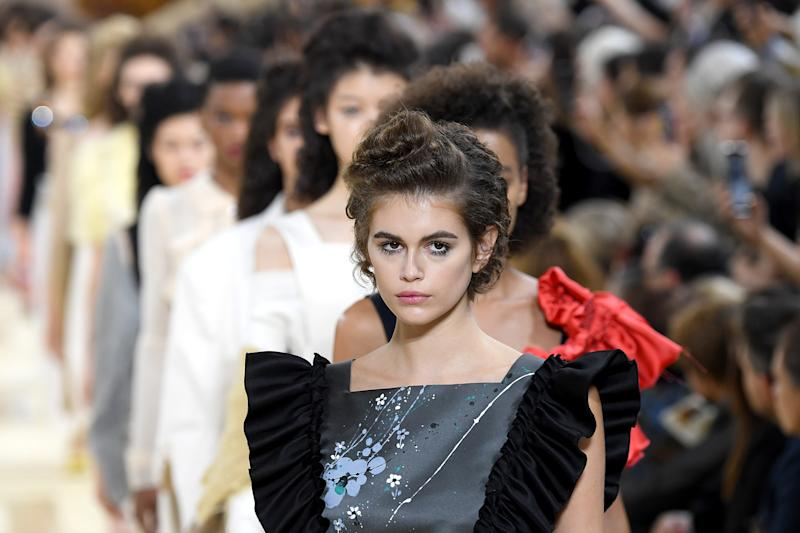 PARIS, FRANCE - OCTOBER 01: Kaia Gerber walks the runway during the Miu Miu Womenswear Spring/Summer 2020 show as part of Paris Fashion Week on October 01, 2019 in Paris, France. (Photo by Pascal Le Segretain/Getty Images)