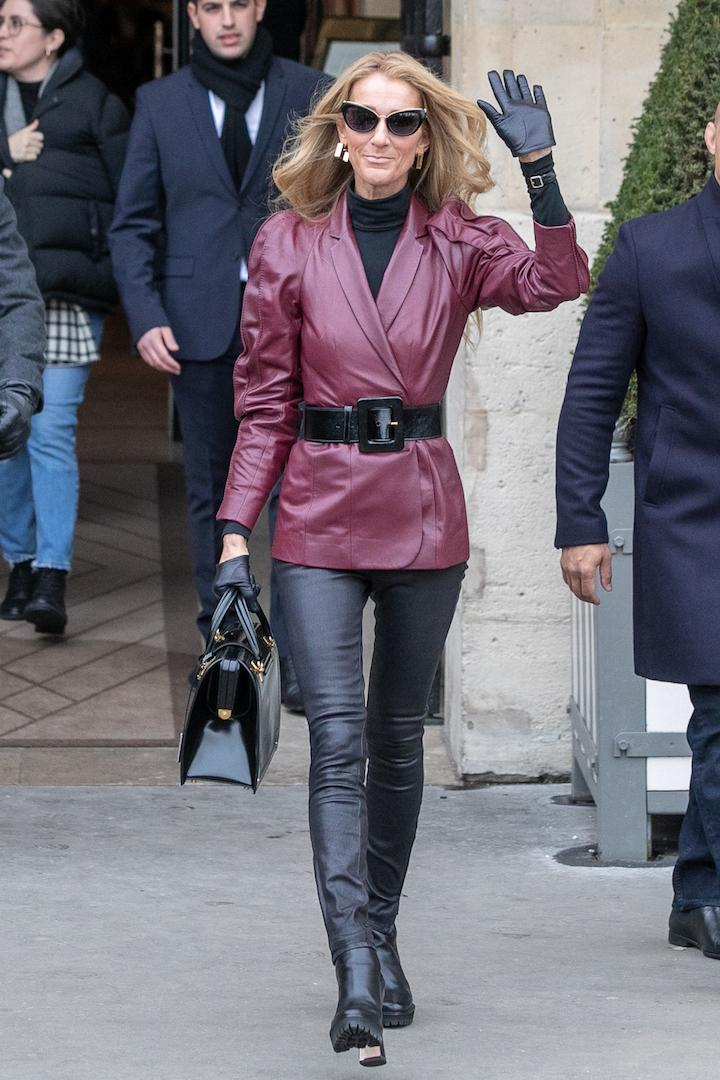 No leather style file (or fashion round-up in general to be frank) is complete without mentioning Celine Dion. The songstress and queen of couture was spotted in Paris wearing head-to-toe leather - finished with £330 Nicholas Kirkwood' boots. <em>[Photo: Getty]</em>