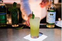"""<p>1 1/2 oz Green Chartreuse</p><p>1 oz Pineapple juice</p><p>1/2 oz Velvet Falernum</p><p>3/4 oz Lime juice</p><p>Build ingredients in a tall Collins glass. Fill half the glass with crushed ice and swizzle. Top off with crushed ice and garnish with mint.</p><p><em>Via <a href=""""https://lezoo.com/"""" rel=""""nofollow noopener"""" target=""""_blank"""" data-ylk=""""slk:Le Zoo"""" class=""""link rapid-noclick-resp"""">Le Zoo</a></em></p>"""