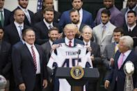 "<p>When the <a href=""https://www.marieclaire.com/politics/g15158809/trump-family-white-house-gifts/"" rel=""nofollow noopener"" target=""_blank"" data-ylk=""slk:New England Patriots"" class=""link rapid-noclick-resp"">New England Patriots</a> made a trip to the White House, they gifted Trump with a personalized jersey and ring. The president has since boycotted the Super Bowl.</p>"