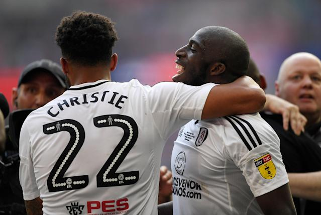 "Soccer Football - Championship Play-Off Final - Fulham vs Aston Villa - Wembley Stadium, London, Britain - May 26, 2018 Fulham's Aboubakar Kamara and Cyrus Christie celebrate promotion to the Premier League Action Images via Reuters/Tony O'Brien EDITORIAL USE ONLY. No use with unauthorized audio, video, data, fixture lists, club/league logos or ""live"" services. Online in-match use limited to 75 images, no video emulation. No use in betting, games or single club/league/player publications. Please contact your account representative for further details."