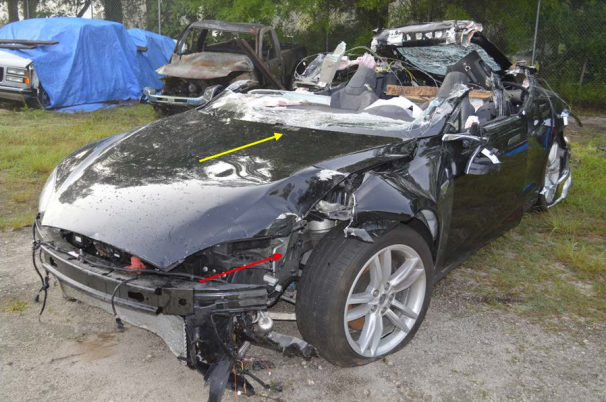 The Tesla Model S sedan involved in a fatal crash near Williston, Florida, on May 7, 2016. Source: NTSB
