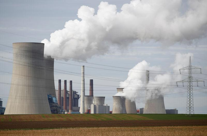 Brown coal fired power plants of RWE, one of Europe's biggest utilities in Neurath near Cologne