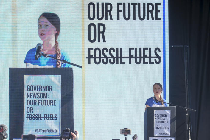 Climate activist Greta Thunberg speaks after a climate change march in Los Angeles, on Friday, Nov. 1, 2019.