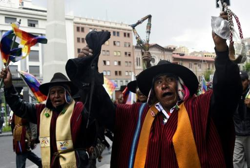 Supporters of Bolivian ex-president Evo Morales demonstrate in La Paz