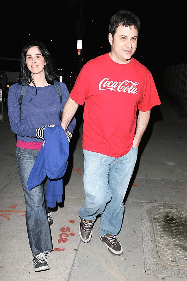 """Unfortunately, funny woman Sarah Silverman and talk show titan Jimmy Kimmel couldn't make it work; after dating for five years, the twosome broke up in March. However, we think they could get back together in 2010. Fingers crossed! <a href=""""http://www.splashnewsonline.com"""" target=""""new"""">Splash News</a> - March 13, 2008"""